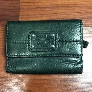 Army Green Leather Fossil Wallet.